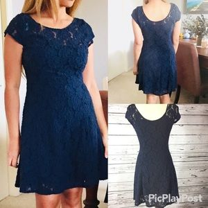 Abercrombie & fitch skater navy blue lace dress M